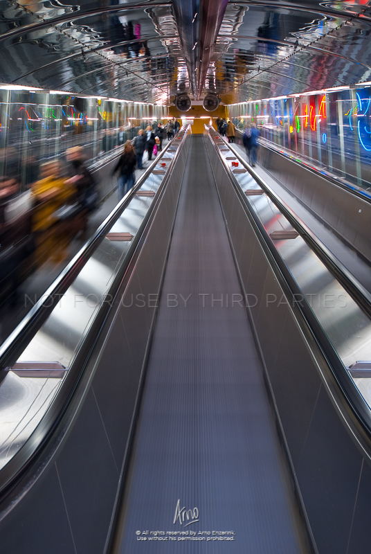 Escalators to the metro in Helsinki, Finland