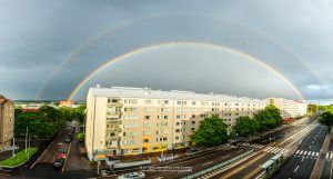 Rainbow over an apartment building in Helsinki, Finland