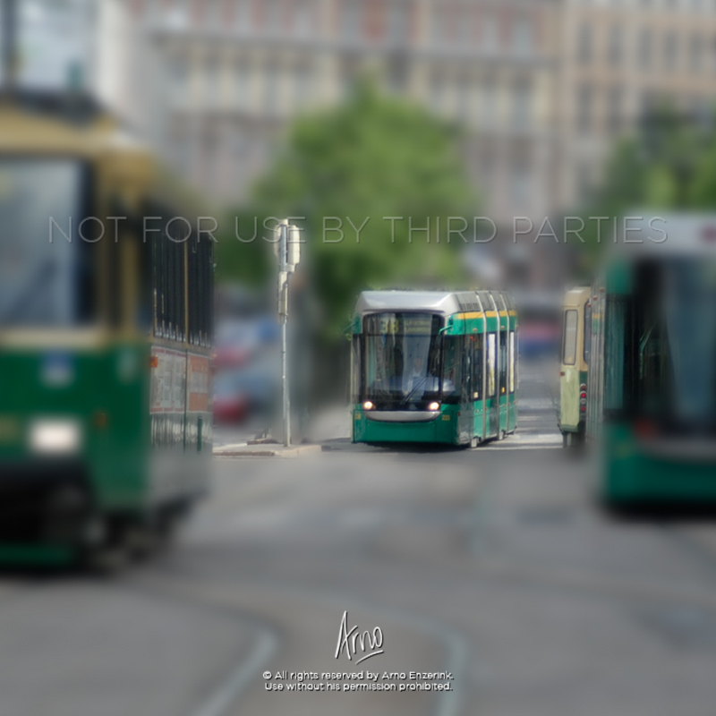 Trams in the city center of Helsinki, Finland